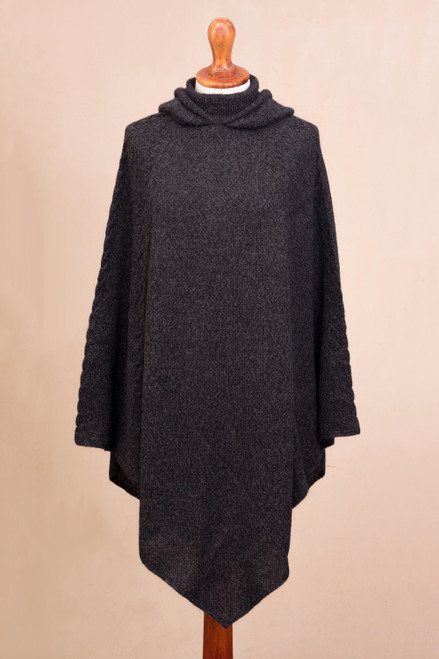 Knit Alpaca Blend Hooded Poncho in Graphite from Peru 'Adventurous Style in Slate'