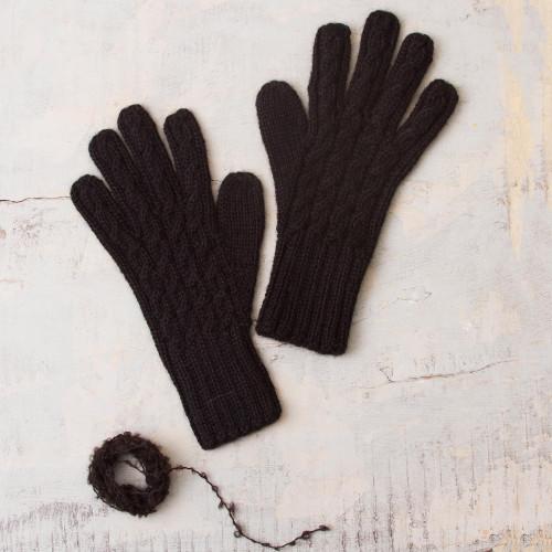 100 Alpaca Knit Gloves in Black from Peru 'Winter Delight in Black'