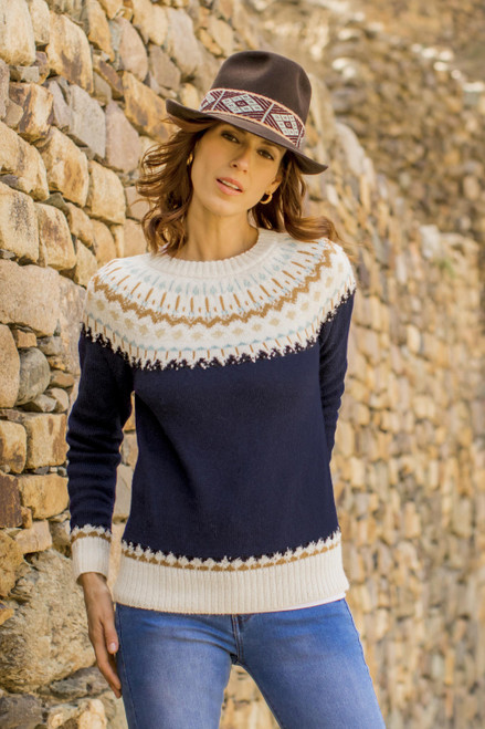 Midnight and Antique White 100 Alpaca Pullover from Peru 'Midnight Comfort'