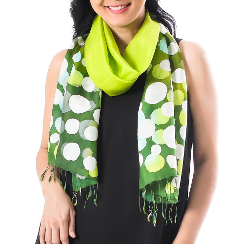 Hand-Painted Batik Silk Scarf in Chartreuse from Thailand 'Bubbles in Chartreuse'