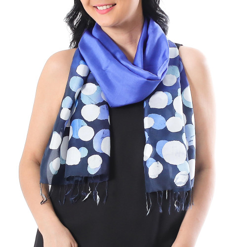 Hand-Painted Batik Silk Scarf in Lapis from Thailand 'Bubbles in Lapis'