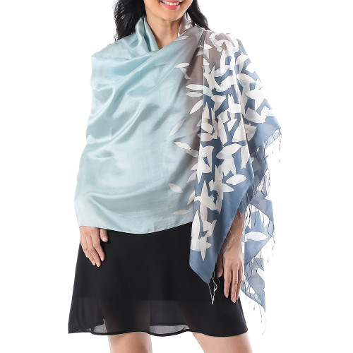 Hand-Painted Ombre Batik Silk Shawl from Thailand 'Nature's Whisper'