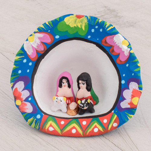 Hand-Painted Ceramic Nativity Sculpture from Guatemala 'Traditional Birth'