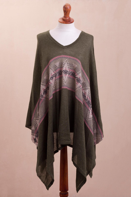 Geometric Cotton Blend Poncho in Olive from Peru 'Olive Andes'