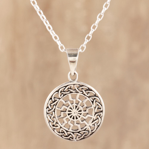 Celtic Pattern Sterling Silver Pendant Necklace from India 'Celtic Chakra'
