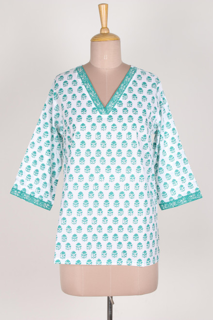 Floral Block-Printed Cotton Tunic in Emerald from India 'Emerald Garden'