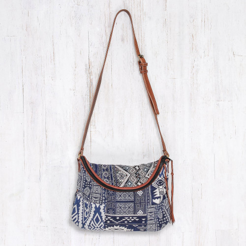 Leather Accented Patchwork Cotton Blend Sling from Thailand 'Lanna Patchwork'
