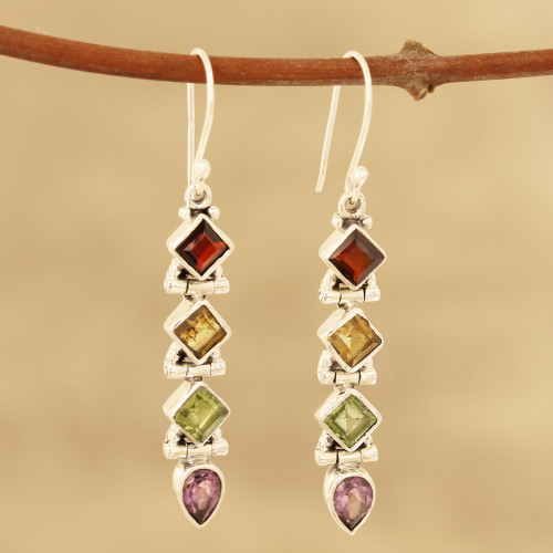 Faceted Multi-Gemstone Dangle Earrings from India 'Gemstone Fusion'