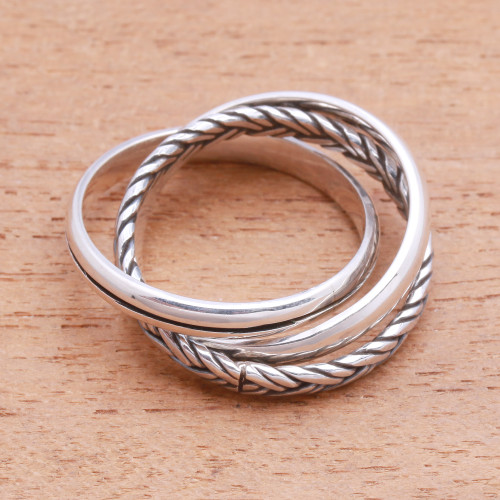 Combination Pattern Sterling Silver Band Ring from Bali 'Appealing Trio'
