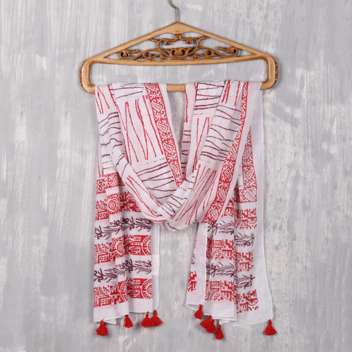 Poppy and Maroon Block-Printed Cotton Wrap Scarf from India 'Stylish Charm'