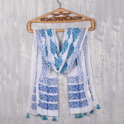 Turquoise and Lapis Floral Cotton Scarf from India 'Pure Bouquet'