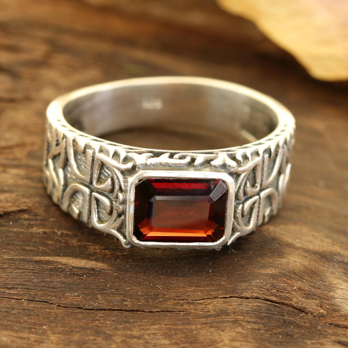 Men's Garnet and Sterling Silver Single-Stone Ring 'Majestic Strength'