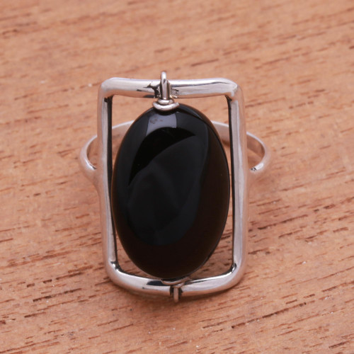 Black Onyx Single-Stone Ring Crafted in Bali 'Deep Soul'