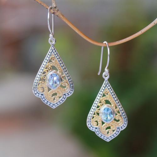 Swirl Pattern Gold Accented Blue Topaz Dangle Earrings 'Glamorous Kites'