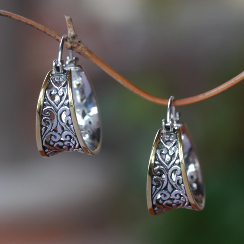Gold Accented Sterling Silver Hoop Earrings from Bali 'Between Sunlight'