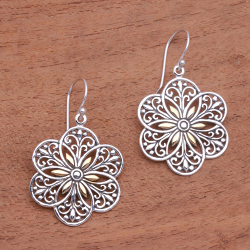 Loop Pattern Gold Accented Sterling Silver Dangle Earrings 'Six Petals'