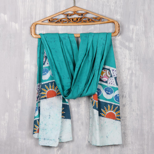 Emerald Batik Cotton Shawl with Colorful Designs from India 'Emerald Royalty'