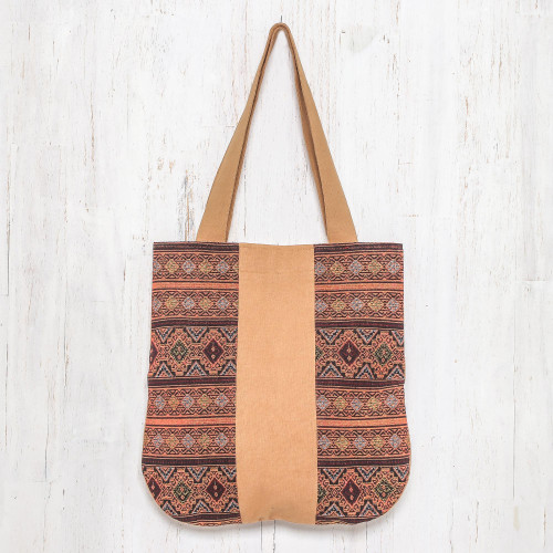Geometric Cotton Shoulder Bag in Caramel from Thailand 'Lanna Caramel'