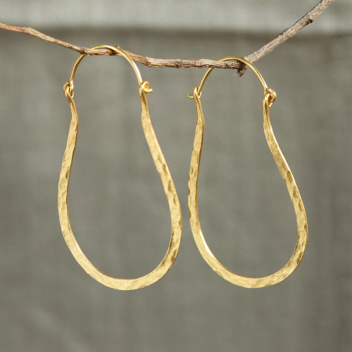 22k Gold Plated Sterling Silver Hoop Earrings from India 'Mystic Loops'