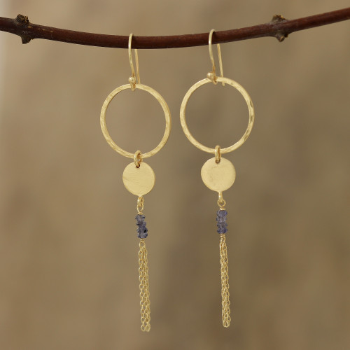 Circular Gold Plated Iolite Dangle Earrings from India 'Dreamy Rings'