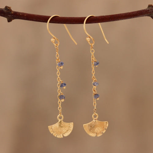 Gold Plated Iolite Ginkgo Leaf Dangle Earrings from India 'Ginkgo Hope'