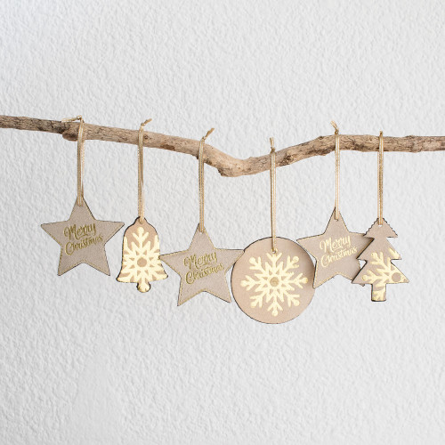 Brown and Gold Leather Christmas Ornaments Set of 6 'Christmas in Brown and Gold'