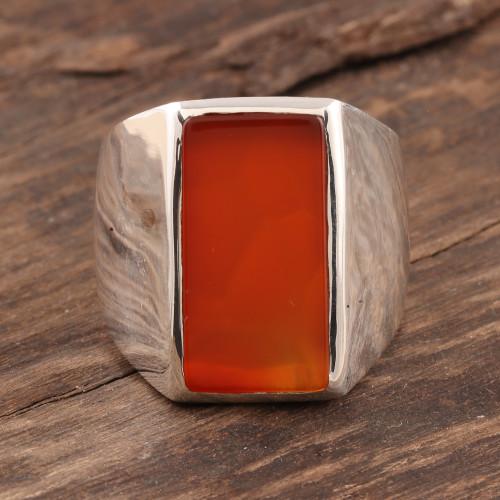 Men's Natural Carnelian Ring Crafted in India 'Red-Orange Obelisk'