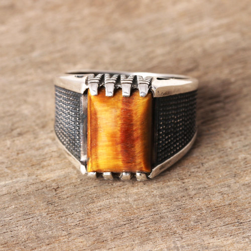 Men's Tiger's Eye Ring Crafted in India 'Earthen Strength'