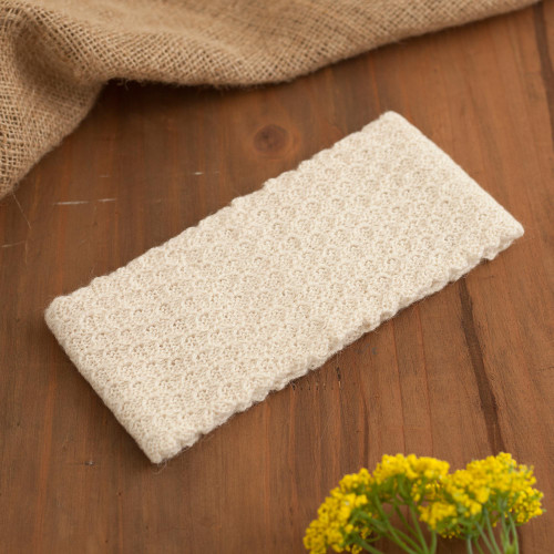 Off-White 100 Baby Alpaca Honeycomb Pattern Knit Headband 'Wavelength in Alabaster'
