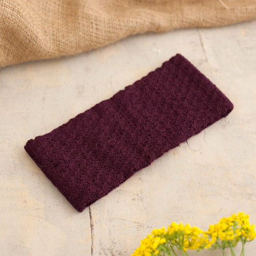 Boysenberry 100 Baby Alpaca Honeycomb Pattern Knit Headband 'Wavelength in Boysenberry'