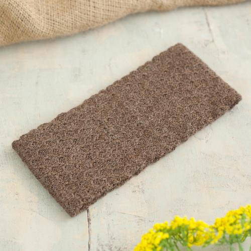 Chestnut 100 Baby Alpaca Honeycomb Pattern Knit Headband 'Wavelength in Chestnut'