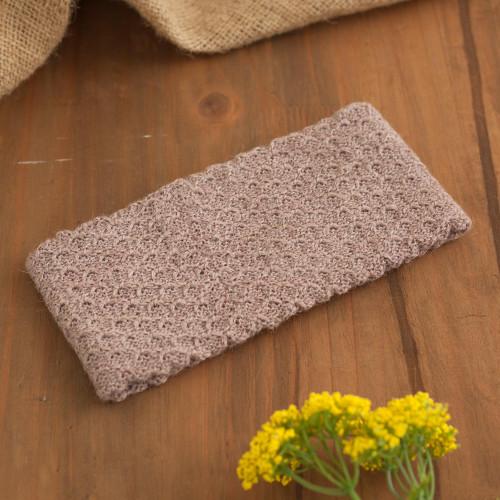 Dusty Rose 100 Baby Alpaca Honeycomb Pattern Knit Headband 'Wavelength in Dusty Rose'
