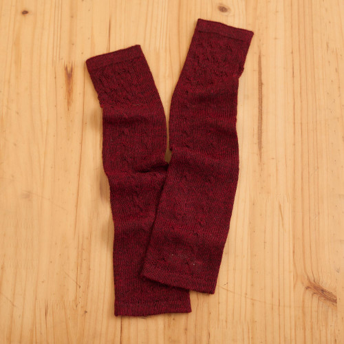 Burgundy 100 Baby Alpaca Cable Knit Fingerless Mitts 'Luscious Twist in Burgundy'