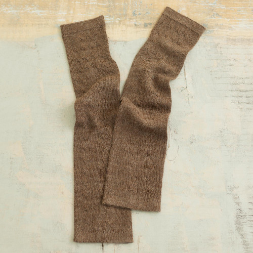 Chestnut Brown 100 Baby Alpaca Cable Knit Fingerless Mitts 'Luscious Twist in Chestnut'