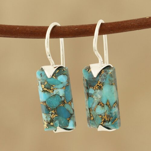Composite Turquoise Drop Earrings from India 'Beautiful Blue'
