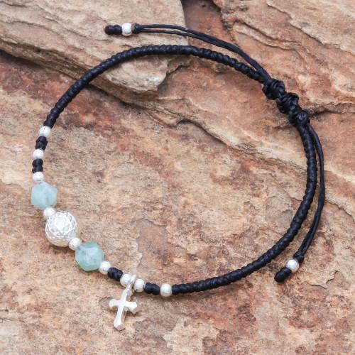 Adjustable Amazonite Beaded Bracelet from Thailand 'Disco Faith'