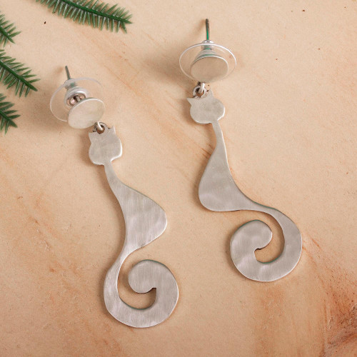Cat-Themed Sterling Silver Dangle Earrings from Mexico 'Stylish Cats'