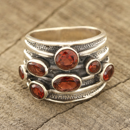 Faceted Garnet Multi-Stone Ring from India 'Scarlet Passion'