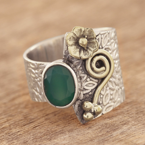 Floral Green Onyx Cocktail Ring Crafted in India 'Garden Gold'