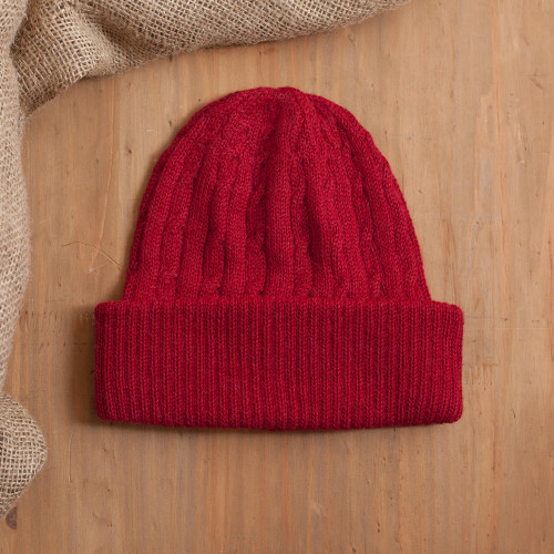 Crimson Red 100 Alpaca Soft Cable Knit Hat from Peru 'Comfy in Red'