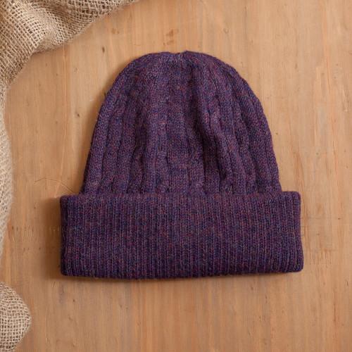 Aubergine Purple 100 Alpaca Soft Cable Knit Hat from Peru 'Comfy in Purple'