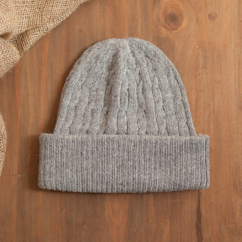 Soft Smoky Grey 100 Alpaca Cable Knit Hat from Peru 'Comfy in Grey'