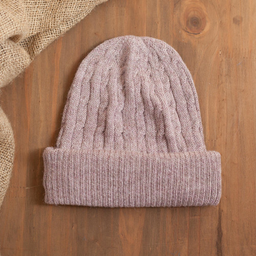 Dusty Rose Pink 100 Alpaca Soft Cable Knit Hat from Peru 'Comfy in Pink'