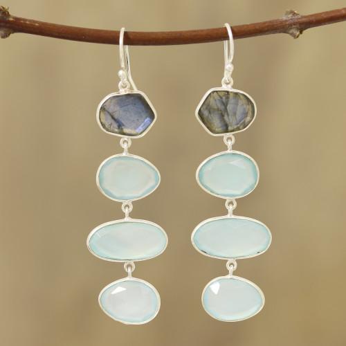 38-Carat Blue Chalcedony and Labradorite Dangle Earrings 'Fantastic Mist'