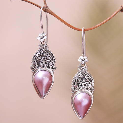 Floral Pink Cultured Pearl Dangle Earrings from Bali 'Ripe Fruit'