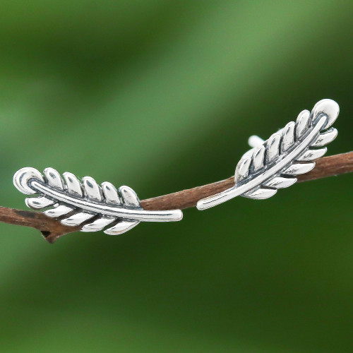 Leafy Sterling Silver Stud Earrings from Thailand 'Adorable Leaves'