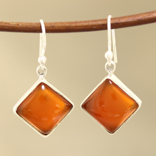 Square Carnelian Dangle Earrings from India 'Honey Squares'