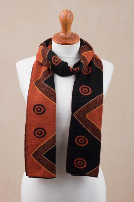 Black and Pumpkin Knit Alpaca Blend Wrap Scarf from Peru 'Black and Pumpkin Andes'
