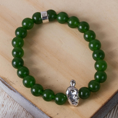 Taxco Green Agate Prickly Pear Beaded Stretch Bracelet 'Green Succulent Prickly Pear'