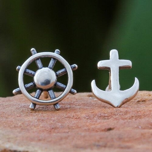 925 Silver Nautical Stud Earrings Handcrafted in Thailand 'Setting Sail'
